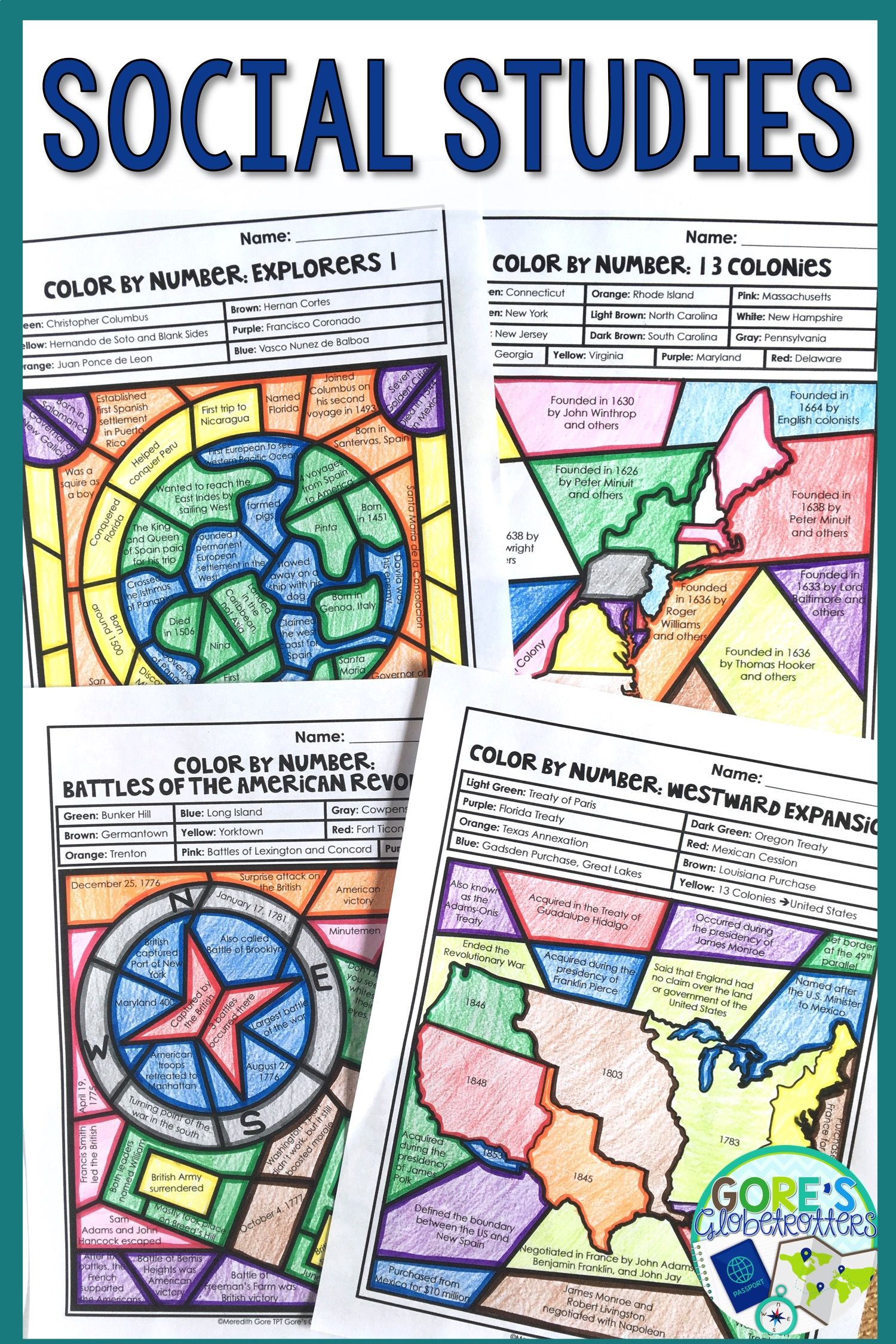 Social Studies Activities Bundle Explorers to Civil War   Social studies  elementary [ 2250 x 1500 Pixel ]