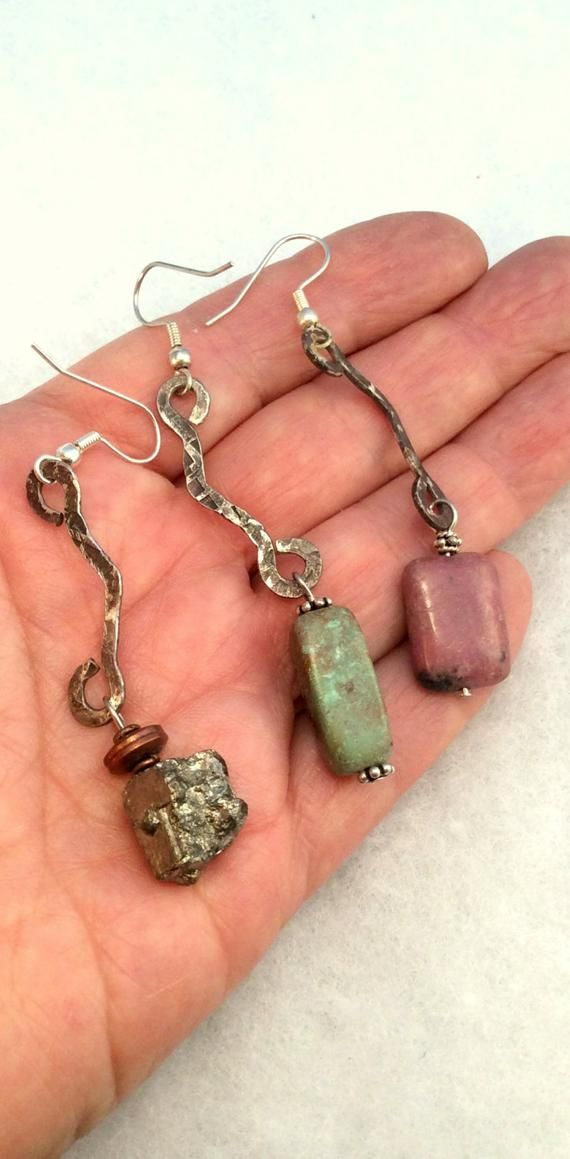 choice of 16 Hammered Sterling Silver or Copper Earrings. Turquoise, Coral, Pyrite, Rhodonite, Lapis. Oxidized, Verdigris free US ship