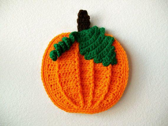 Crochet Pumpkin Pot Holder Hot Pad potholder Halloween Holiday ...