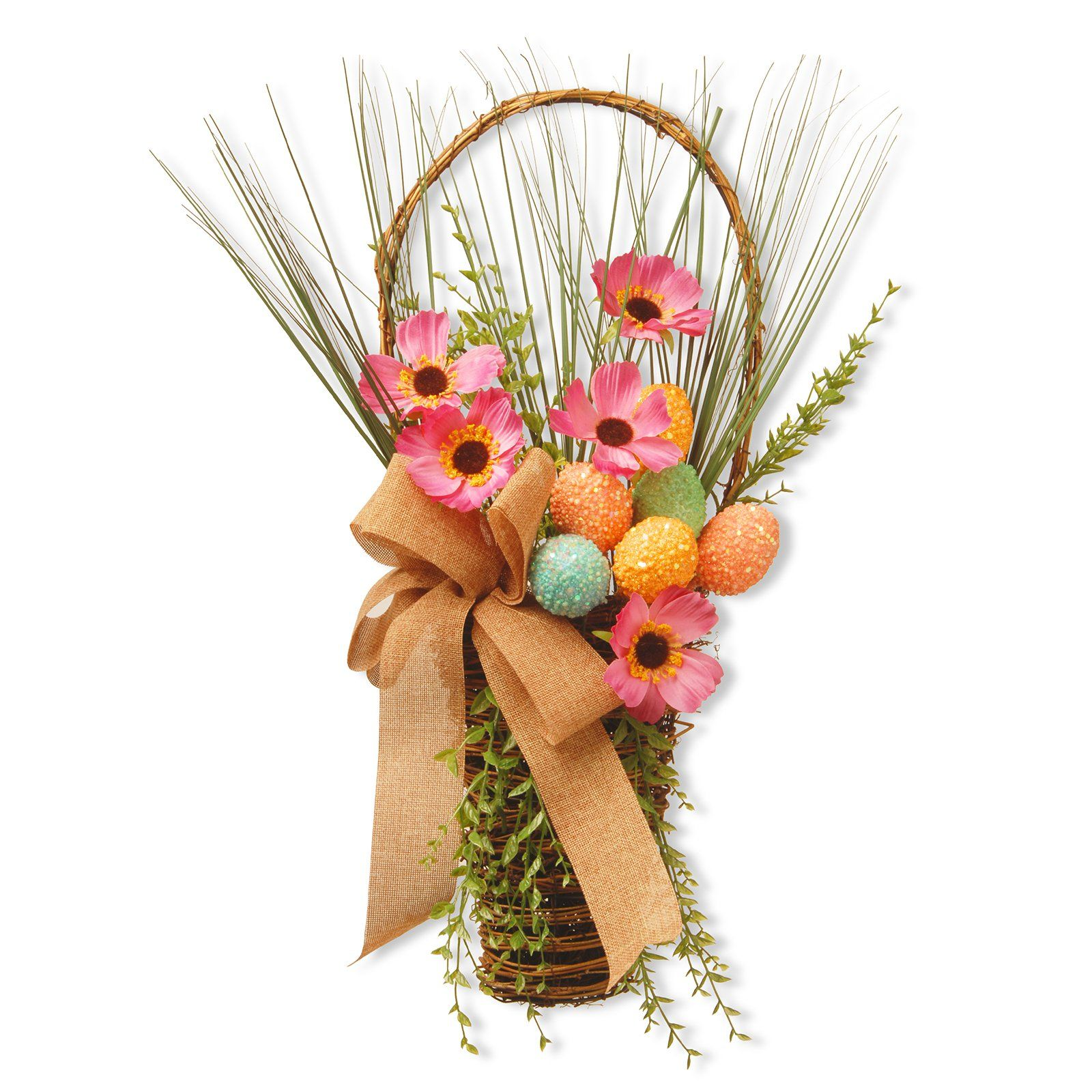 National Tree Company 23 in. Easter Basket with Flowers - RAE-15550LZ23