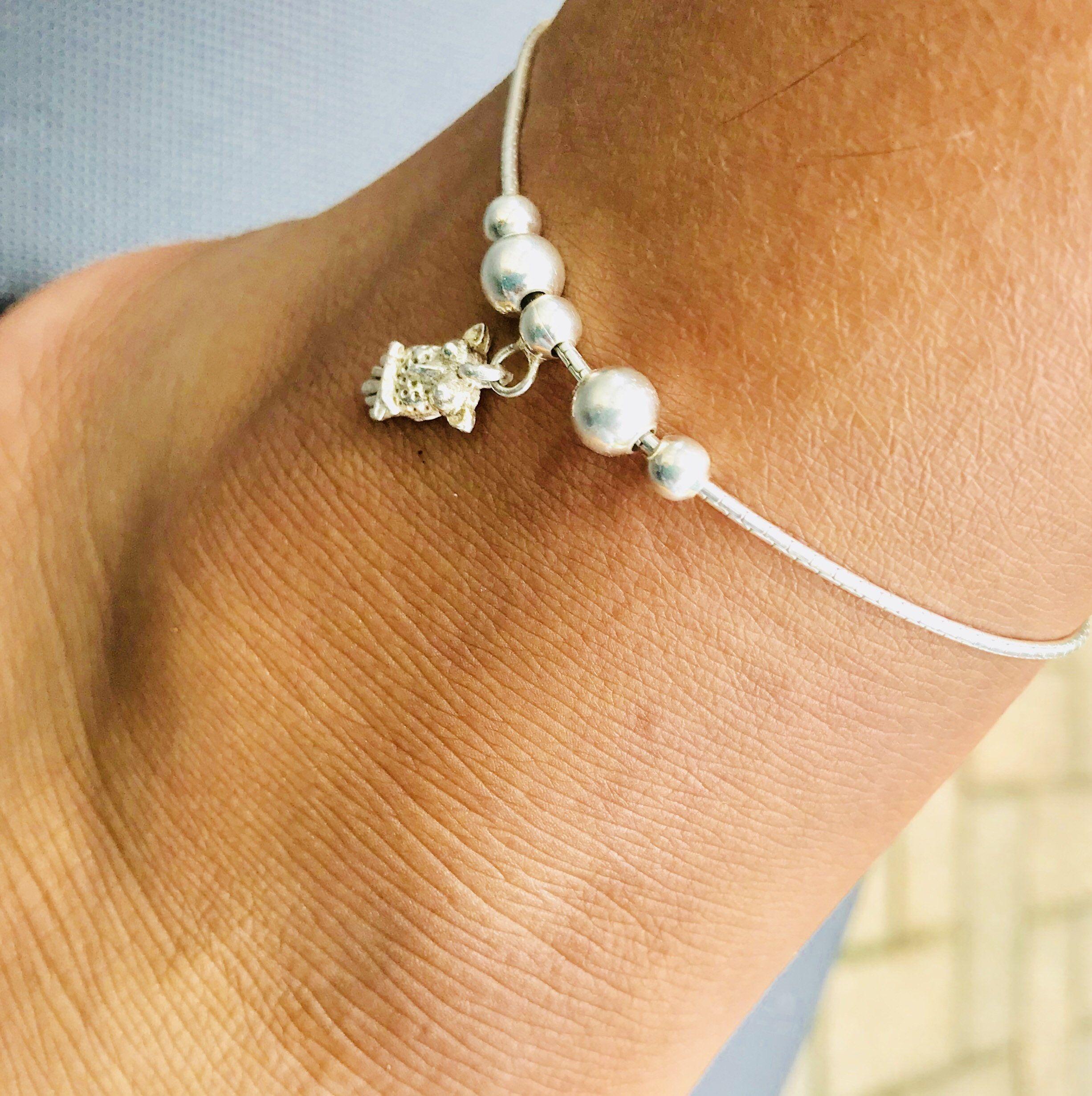 Extra10 Sterling Silver Anklet Bracelet 925 Owl Charm