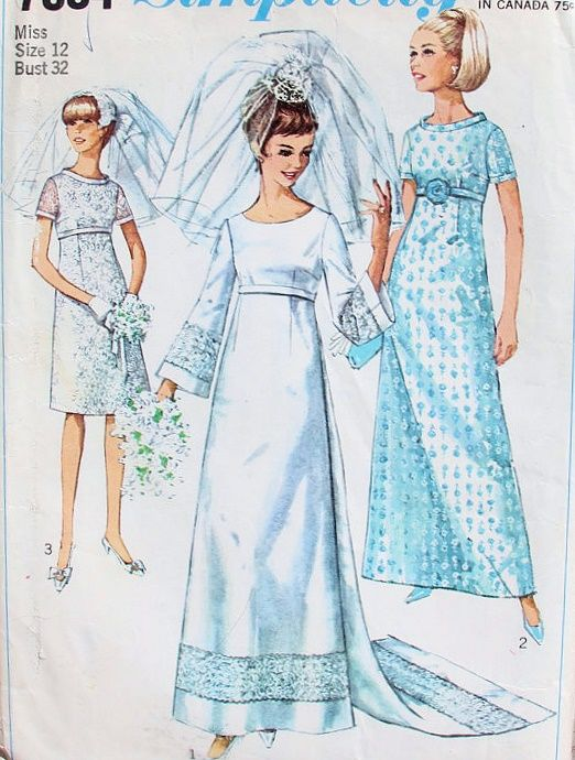 1960s EMPIRE A LINE WEDDING DRESS BRIDAL GOWN PATTERN DETACHABLE ...