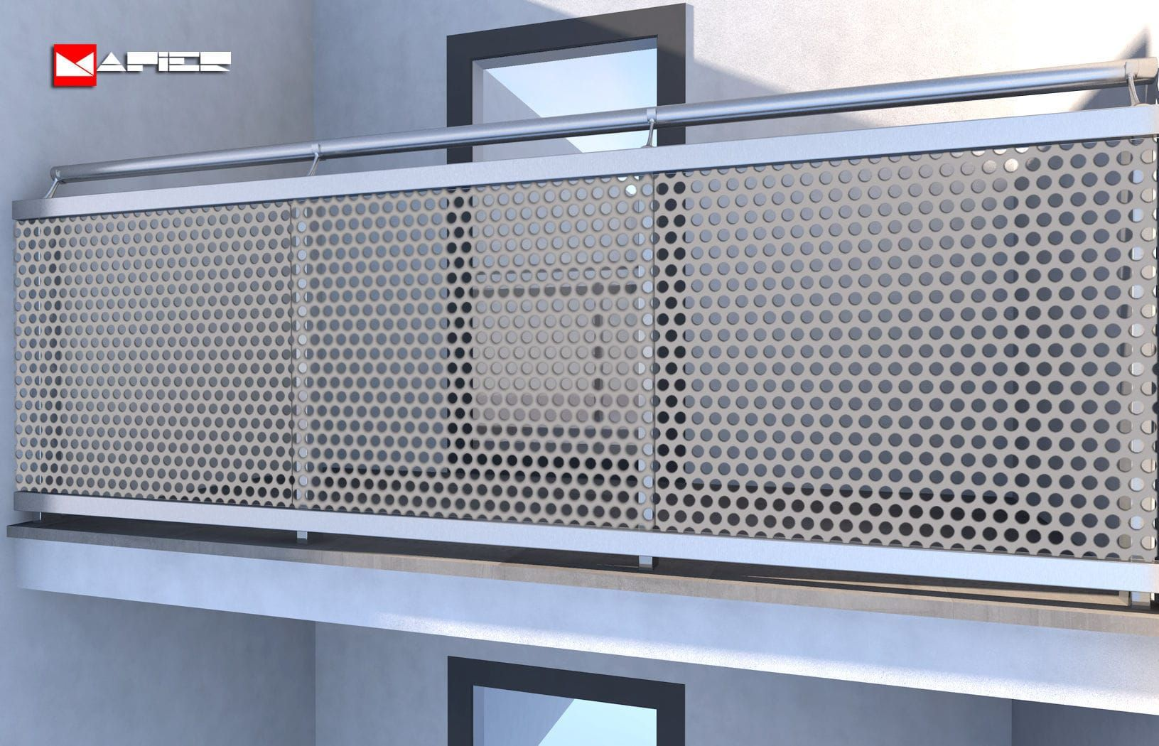 Aluminum Railing X2f Perforated Sheet Metal X2f For Patios X2f For Balconies Brunelleschi Mapier Barandas Balcones Barandillas Escaleras Barandas