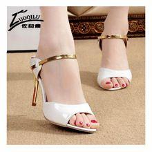 8380e36b9 Moda Ouro Prata Sandálias De Salto Alto Do Dedo Do Pé Aberto Mulheres  Sapatos Stiletto Verão