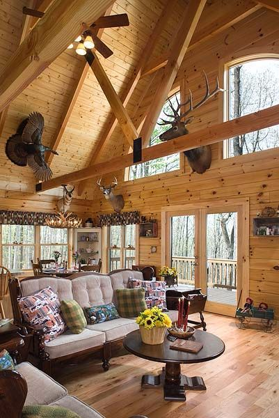 Look Inside A Lovely Rustic Cabin The Country Style Kitchen Is A Pure Delight Log Home Interior Log Homes Log Home Interiors