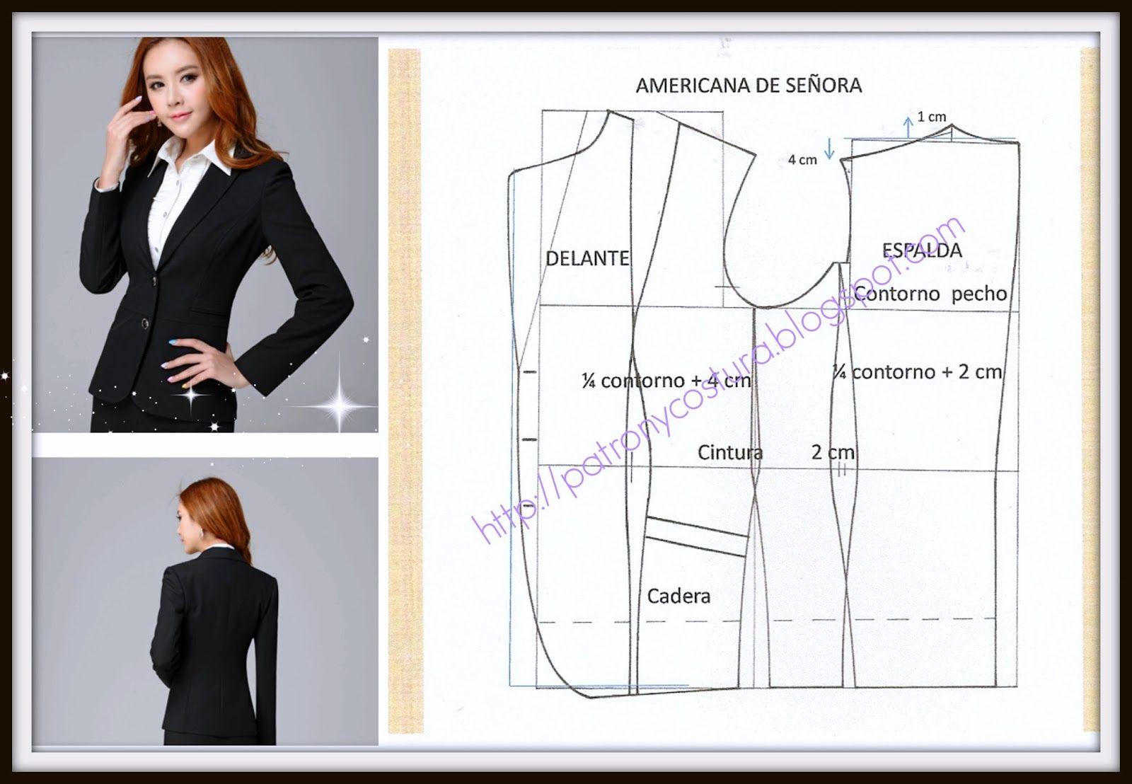patrón y costura : chaqueta americana de señora tema 72