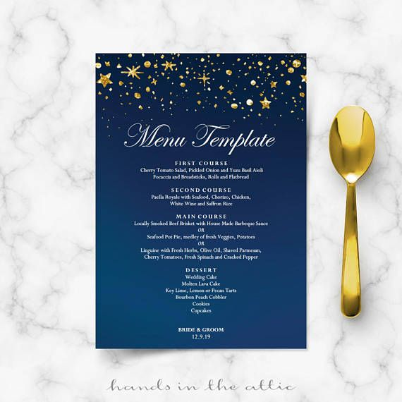 Starry Night Wedding Menu Cards Diy Template Gold Glitter Stars