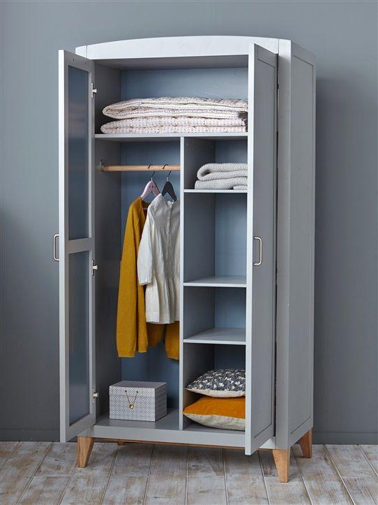 armoire bois gris bleu gris rose