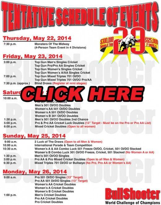 Bullshooter Schedule of Events