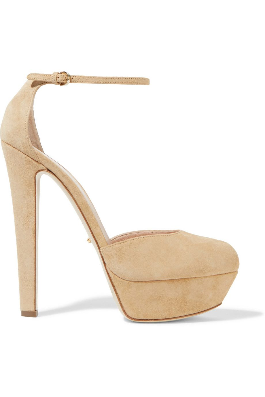 Platform Sandals ankle strap leather beige Sergio Rossi IZaHs