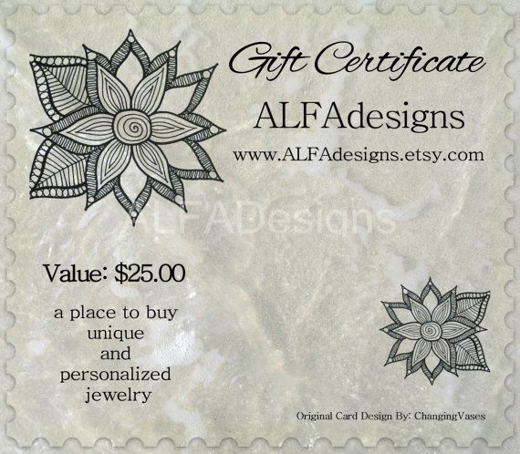 25 Dollars Gift Certificate to ALFAdesigns Jewelry by ALFAdesigns, $22.49
