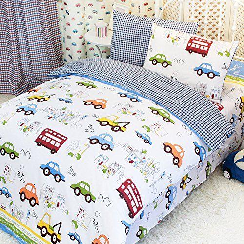MakeTop Cars Trucks Buses House Pattern White Background Kids Boys Bedding  Set Full 5pc With Comforter