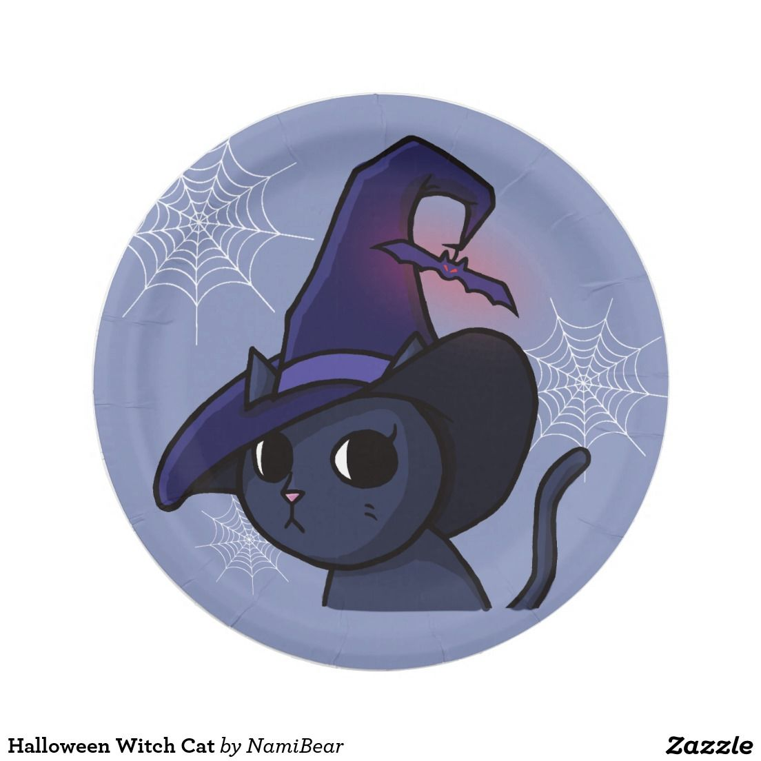 Halloween Witch Cat Paper Plate By Namibear On Zazzle Com This Is A Drawing Of A Black Cat Wearing A Dark Purple Witch Hat Purple Paper Witch Cat Themed Cards
