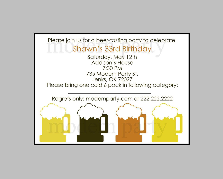 beer party invitation wording diy printable beer tasting party