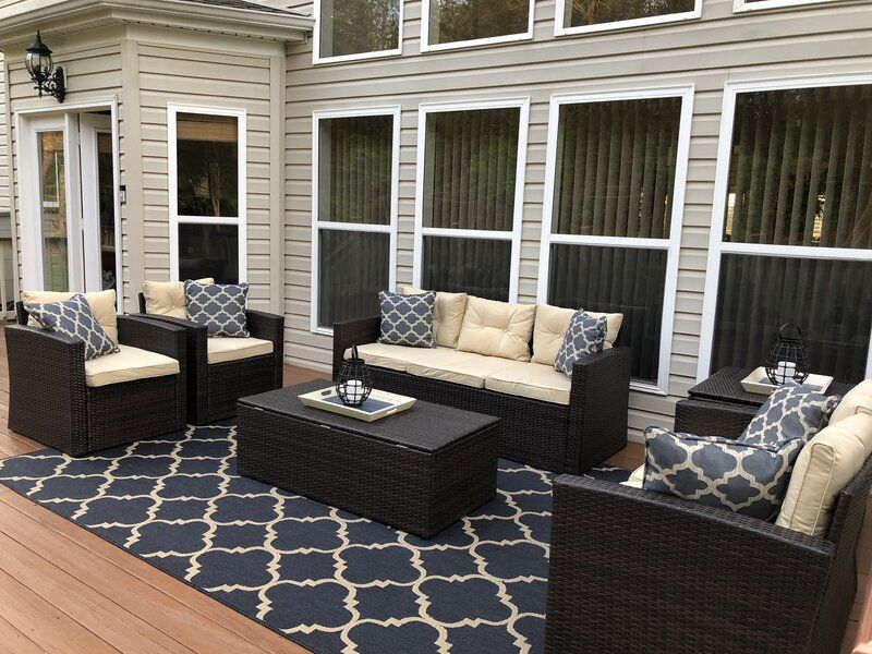 Best Arlington 6 Piece Rattan Sofa Seating Group With Cushions 400 x 300