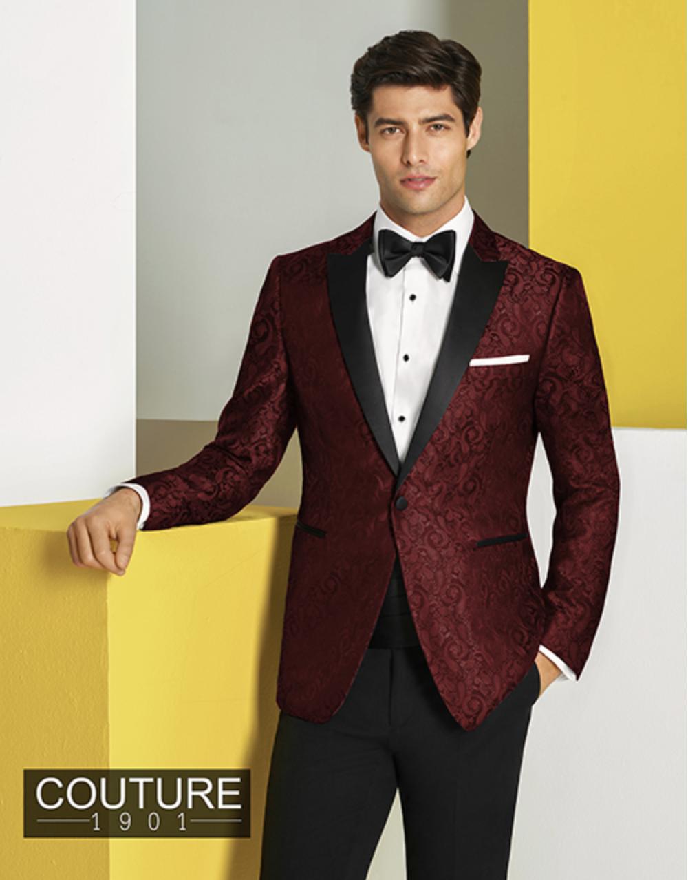 "Burgundy ""Chase"" Paisley Tuxedo for Prom Tuxedo rental"