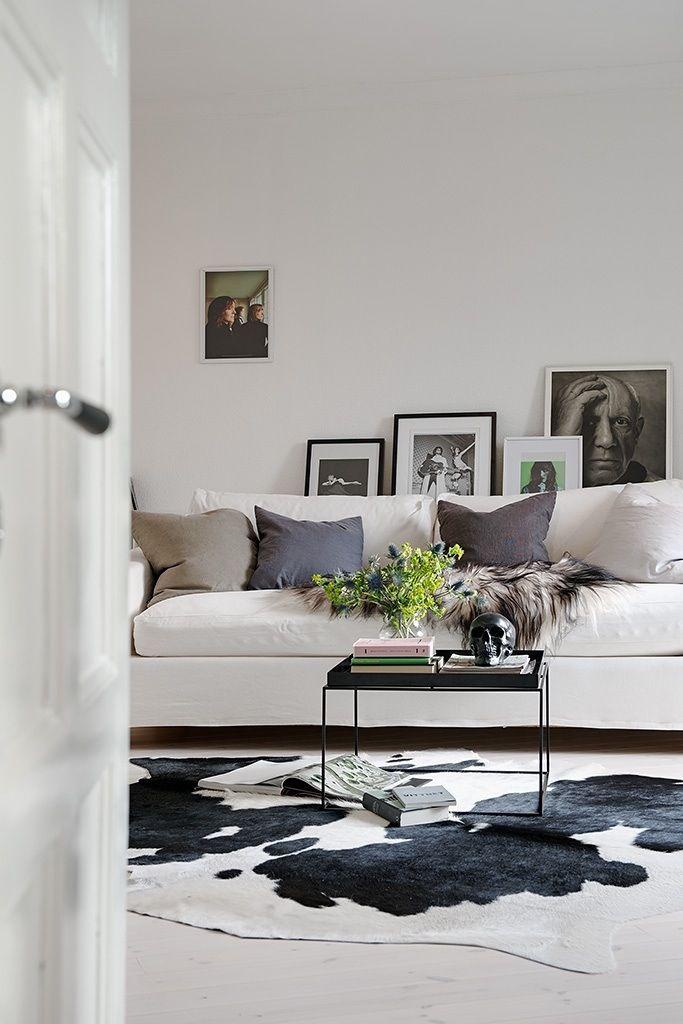 Wohnzimmer Stil - Kuhfell, Kupfertisch/Glas Guerrickestr Fe - Kuhfell Teppich Wohnzimmer