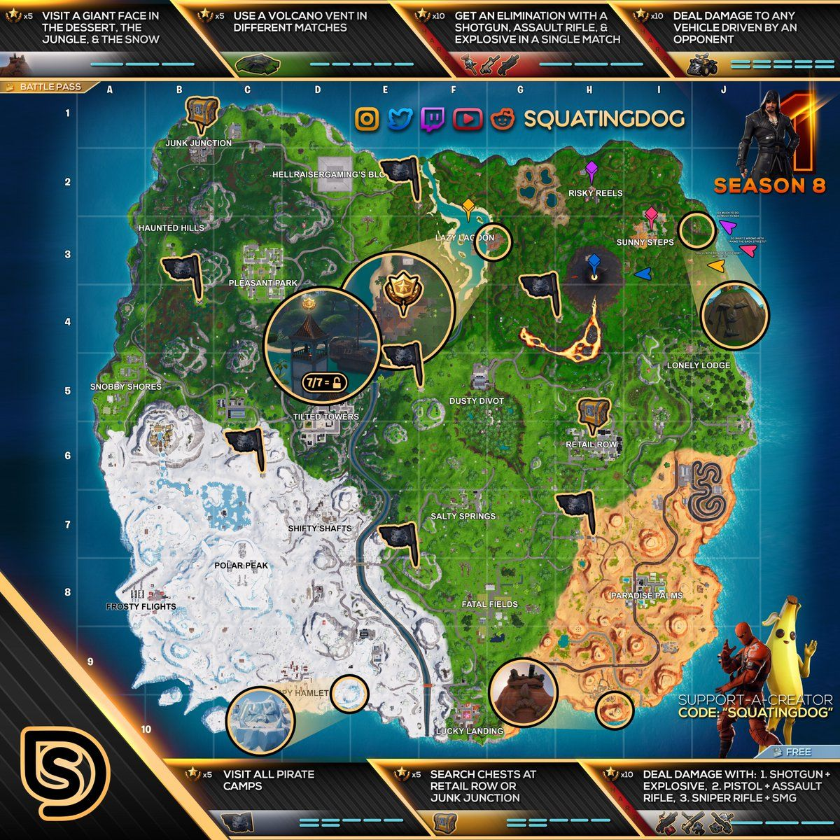 complete cheat sheet with all fortnite season 8 week 1 challenge locations want help completing all the season 8 week 1 fortnite challenges - mapa piezas rompecabezas fortnite