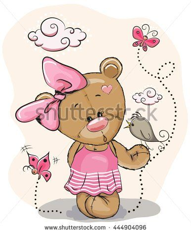 Cute Cartoon Teddy Bear Girl with bird and butterflies on a pink background