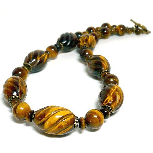 Unique AAA Carved Golden Tiger Eye Handmade 20in Gemstone Necklace