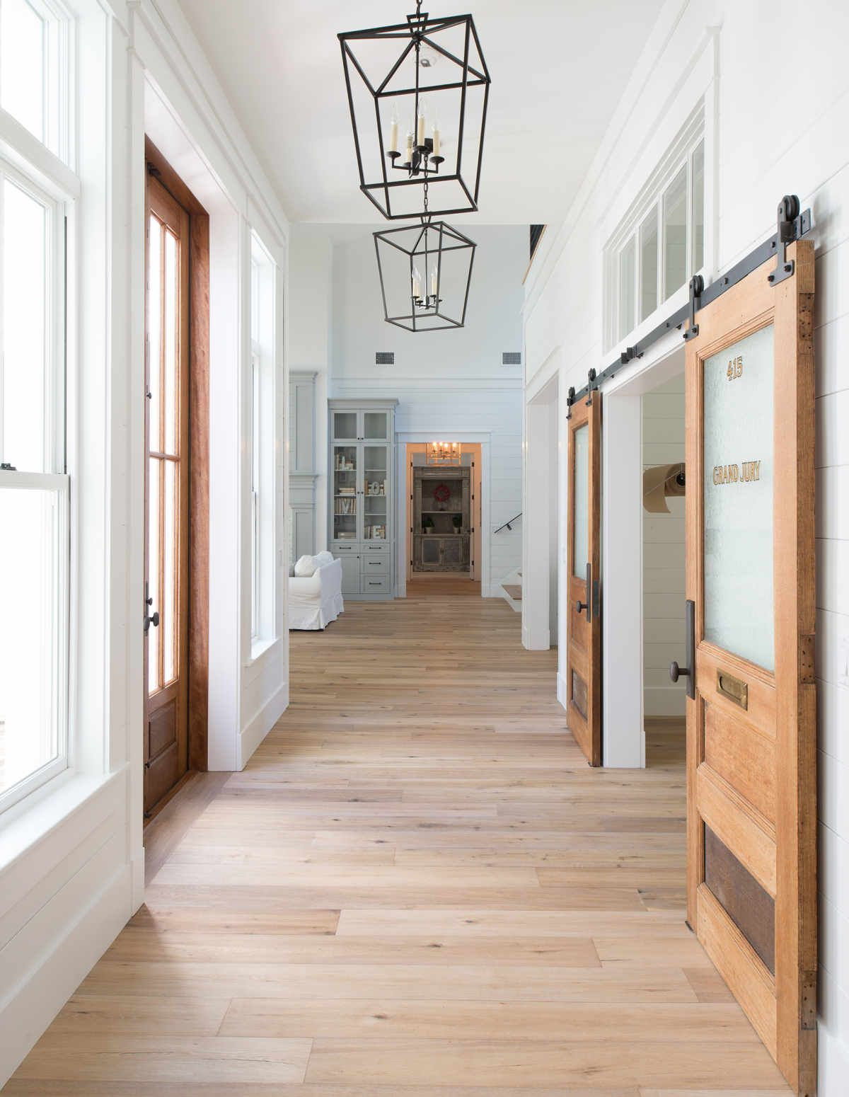 Entrance Hallway Painted Tongue Groove Micro Bevel Or Micro V Wood Paneling Farmhouse Light Fixtures Farm House Living Room Joanna Gaines Light Fixtures