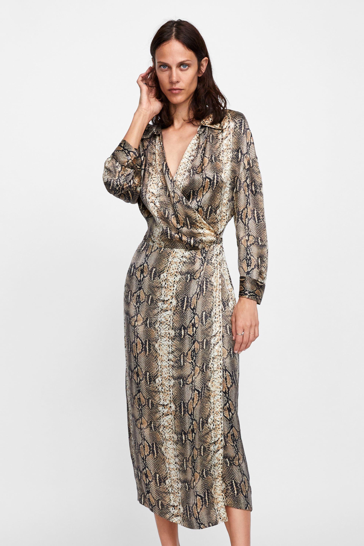 18f5077a1 ZARA - WOMAN - SNAKESKIN PRINTED SHIRT DRESS Vestidos Cruzados