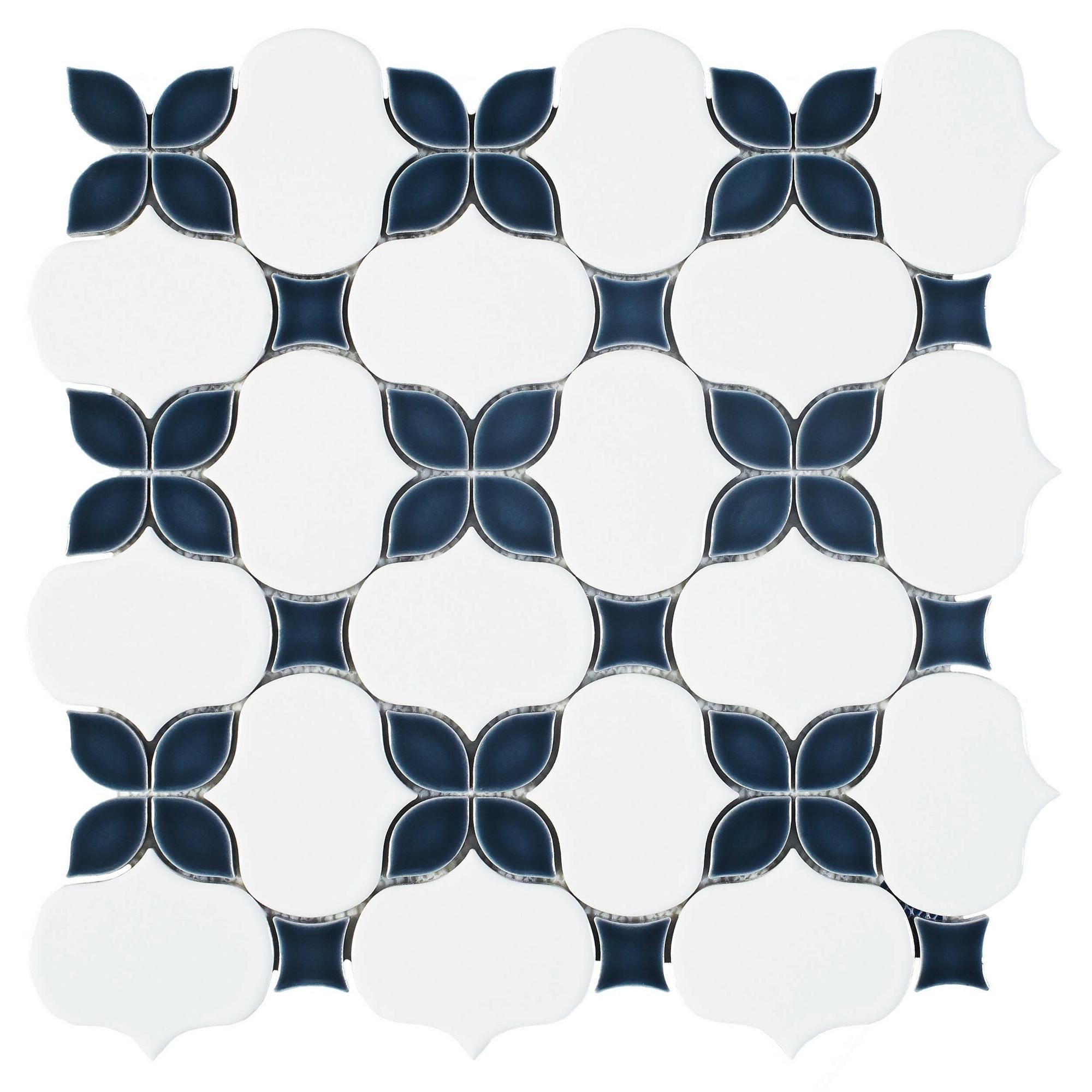 Iris Anchors Polished Porcelain Mosaic Porcelain Mosaic Mosaic Flooring Floral Mosaic Tile