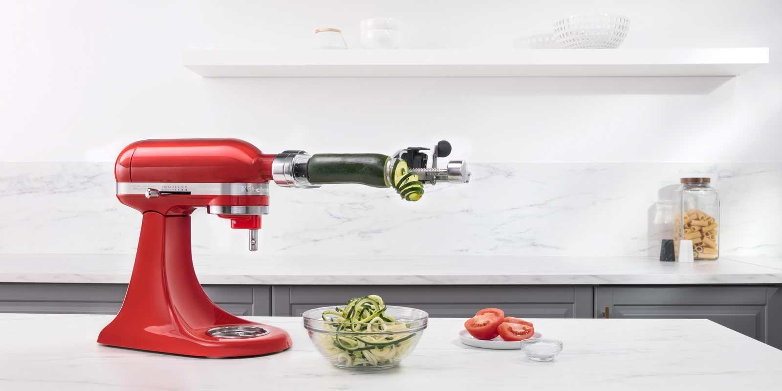 Spiralschneider Zum Schalen Entkernen Und Schneiden 5ksm1apc Kuchenhilfe Spiralschneider Kitchenaid Kuchenmaschine