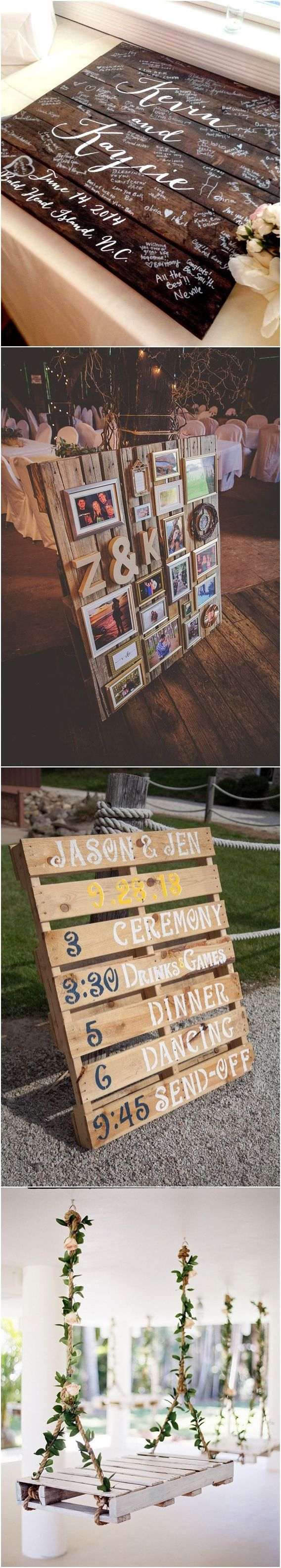 Pallet wedding decor ideas  Say ucI Doud to These Fab  Rustic Wood Pallet Wedding Ideas