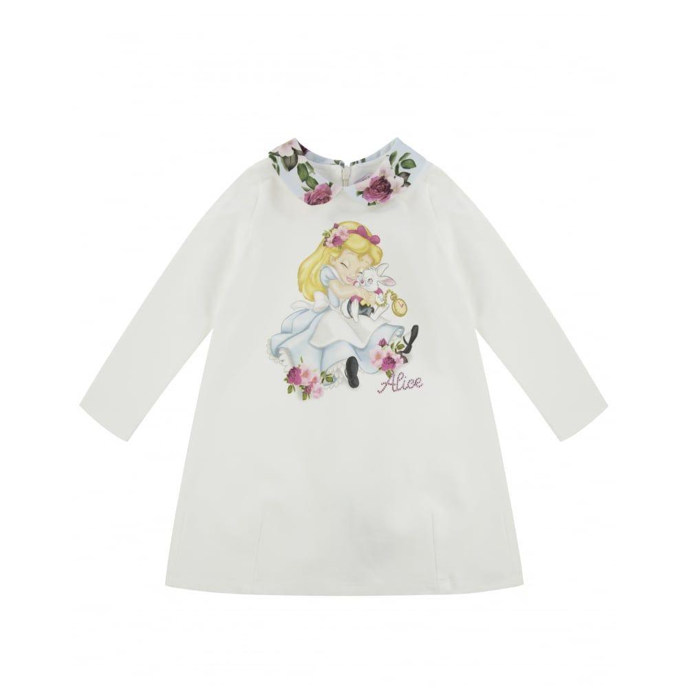 3dc745734356 Monnalisa Baby Girls Alice in Wonderland Print Dress with Floral ...