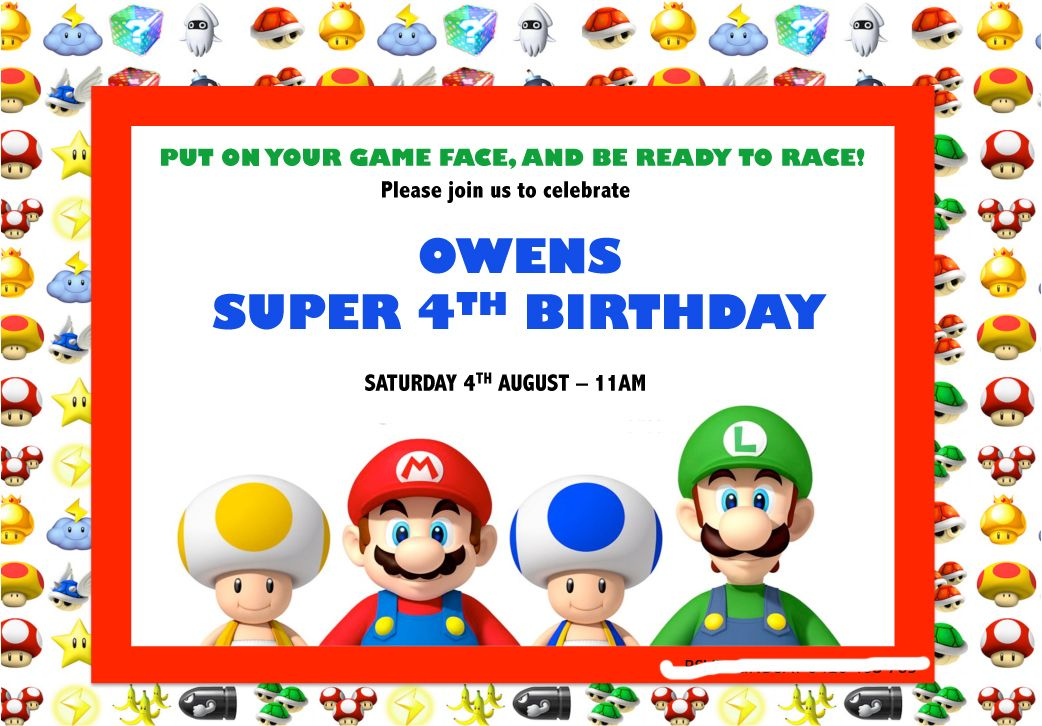 Super Mario Birthday Invitation - Mario Kart | Party Party Creations ...