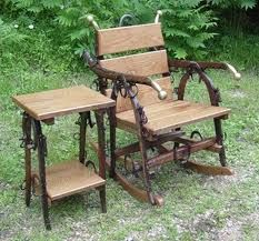 Chair and table with other barn finds
