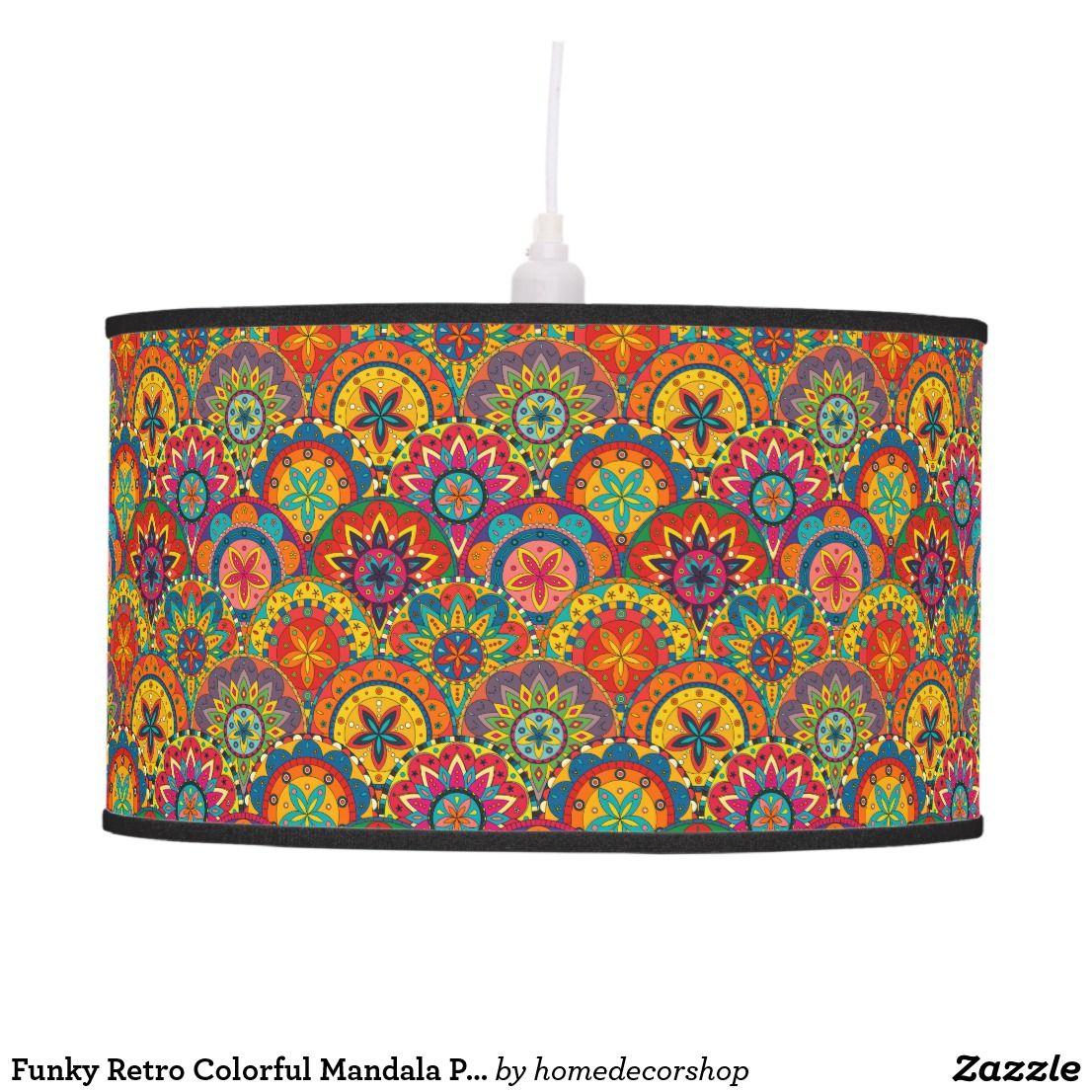 Funky retro colorful mandala pattern ceiling lamp in wohnung