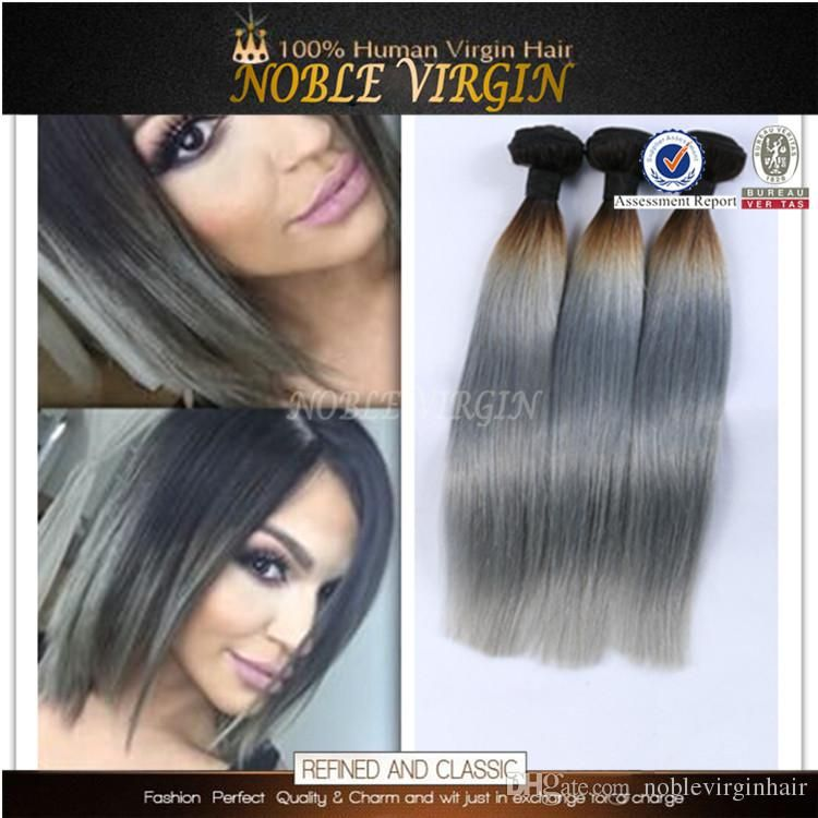 Peruvian Brazilian Hair 1b Gray Straight Ombre Color Human Hair