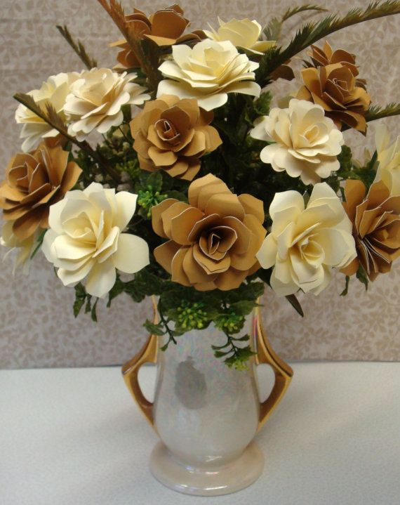 Ivory And Gold Paper Flower Arrangement Perfect For 50th Anniversary Birthdays Weddings 50th Anniversary Party Anniversary Decorations 50th Wedding Anniversary