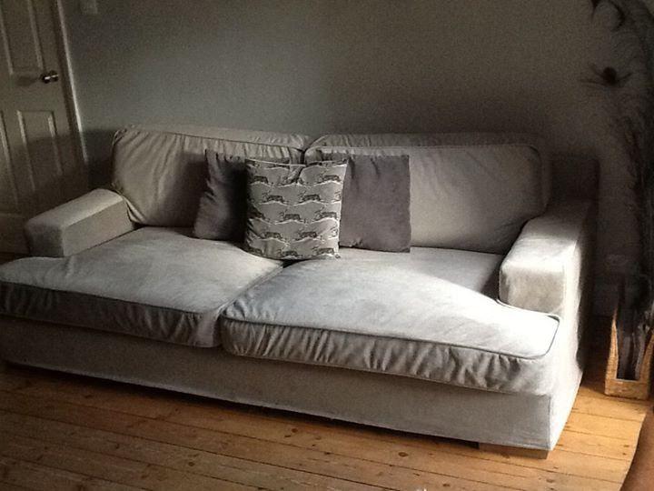 Amazing Custom L Seats Square Arm Snug Fit Slipcover In Grey Velvet Fabrics