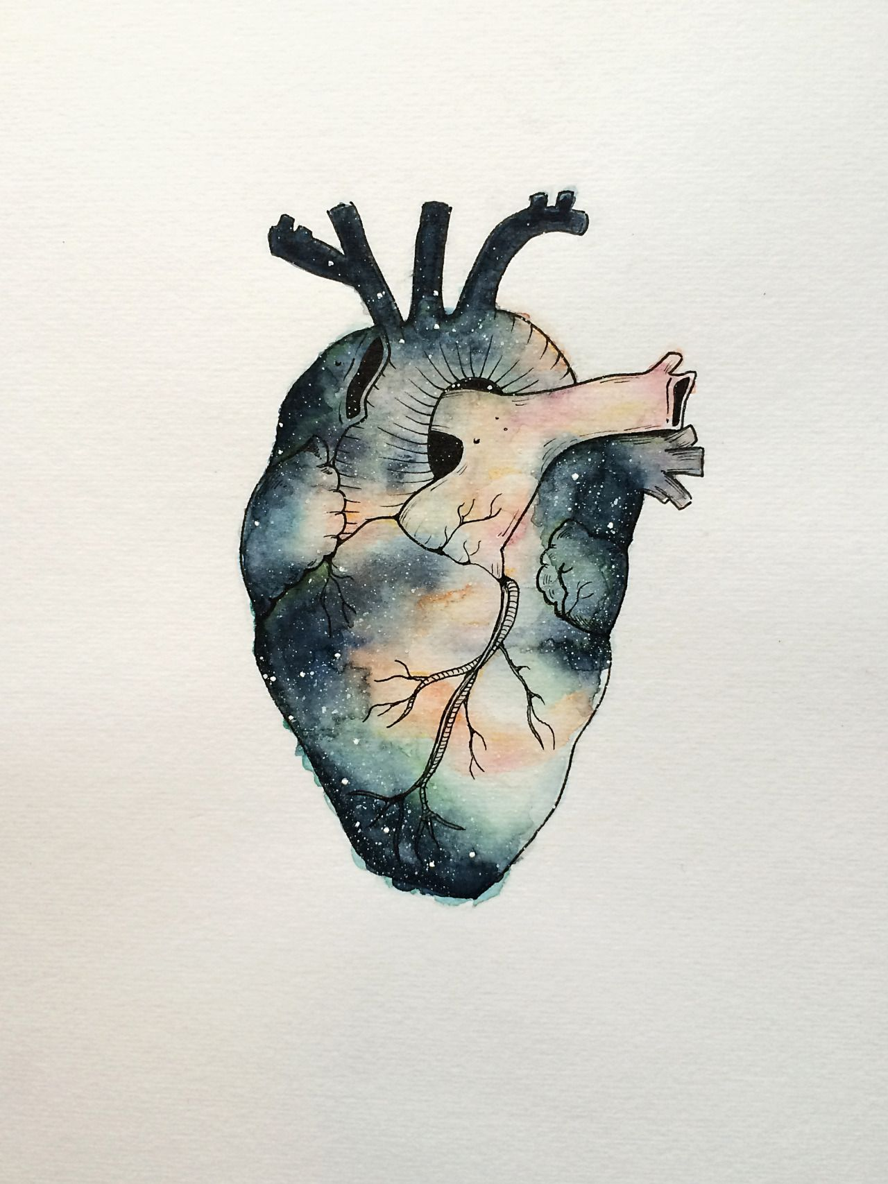 i heart space painted with watercolor and ink heart kunst gem lde aquarell und kunst. Black Bedroom Furniture Sets. Home Design Ideas