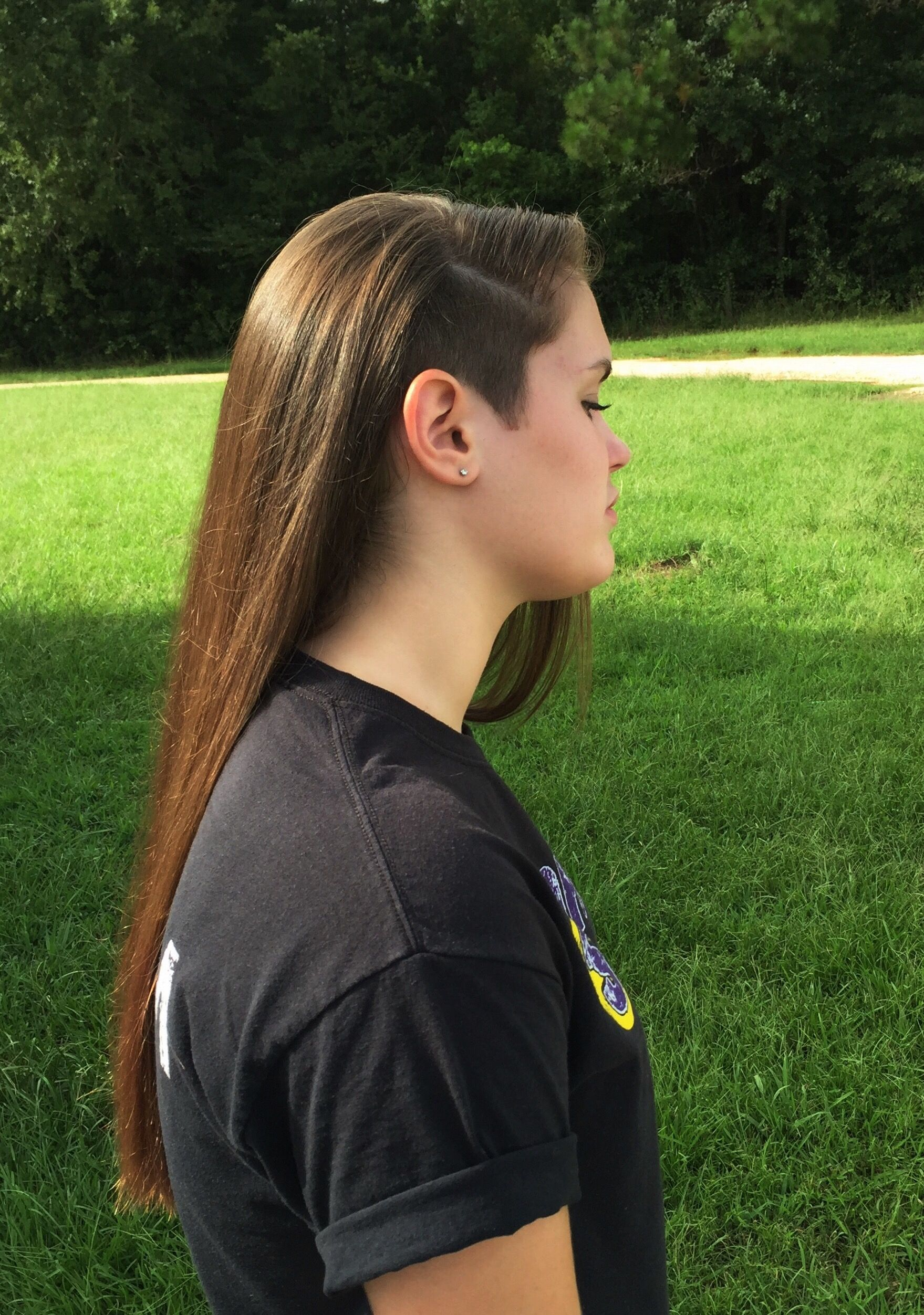 partial side shave long hair
