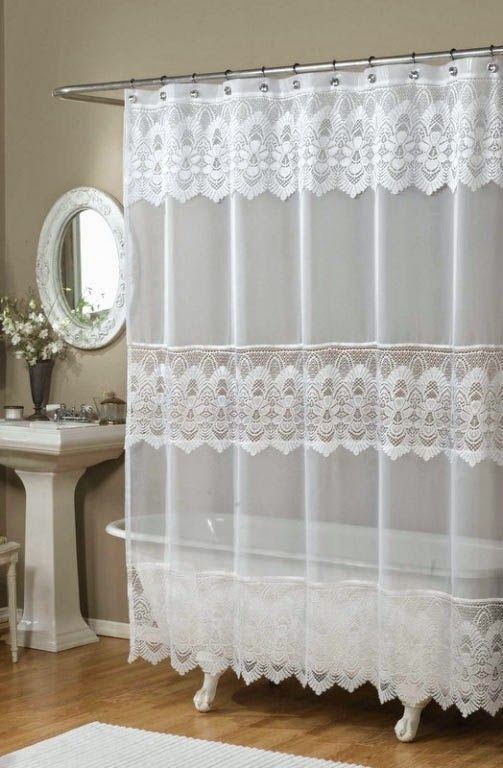 Curtain Ideas Ricardo Romance Lace White Lace Fabric Shower Curt