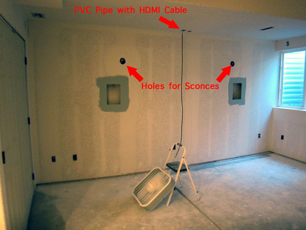 basement home theater room back wall with four holes cut in the rh pinterest com
