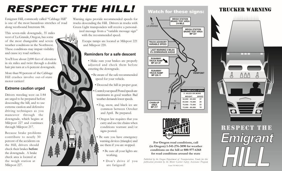 Respect the Emigrant Hill, by the Oregon Department of