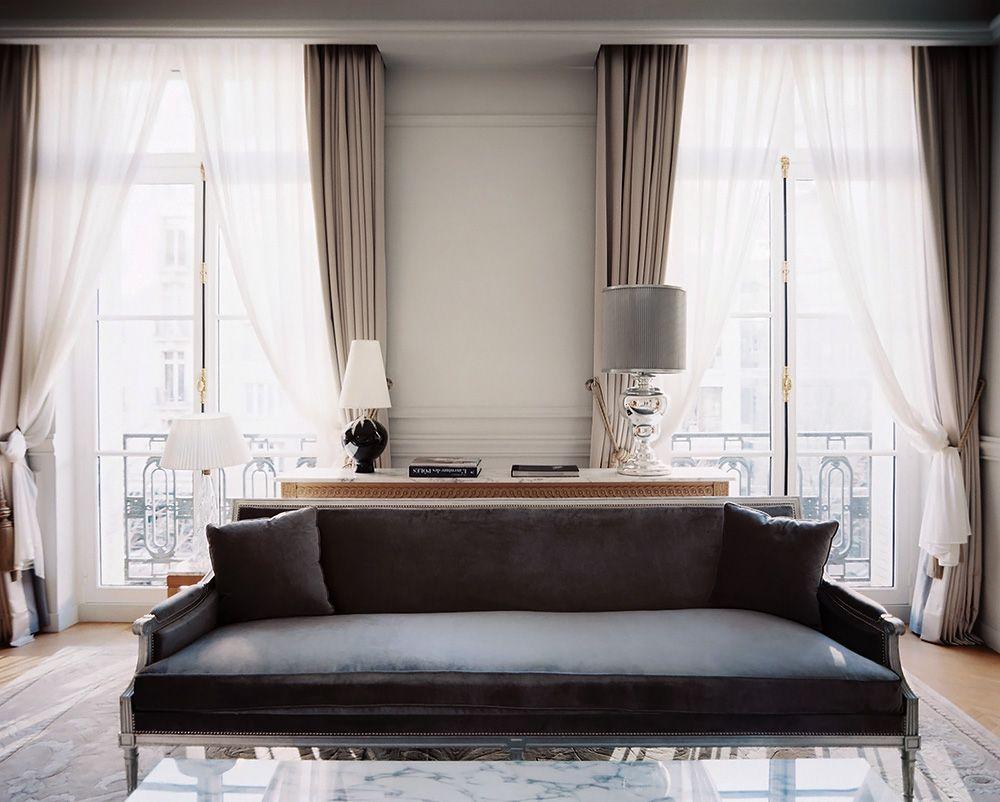 Gray curtains bedroom Детали отель в Париже  suite  pinterest  living room room and decor