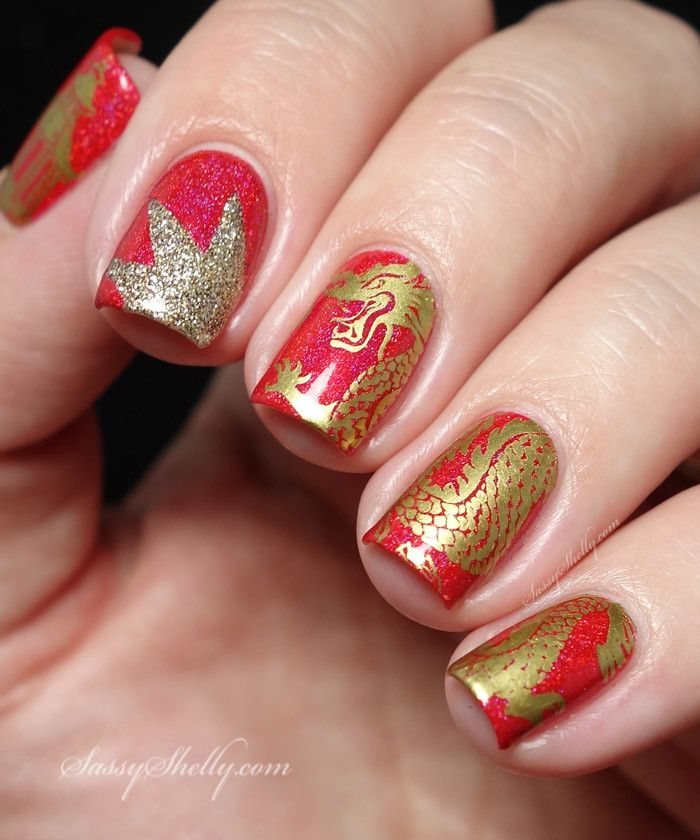 Red and Gold Chinese Dragon manicure- Elevation Polish, Alter Ego Nail  Enamels and Bundle - Chinese Dragon Nail Art With Bundle Monster Bundle Monster