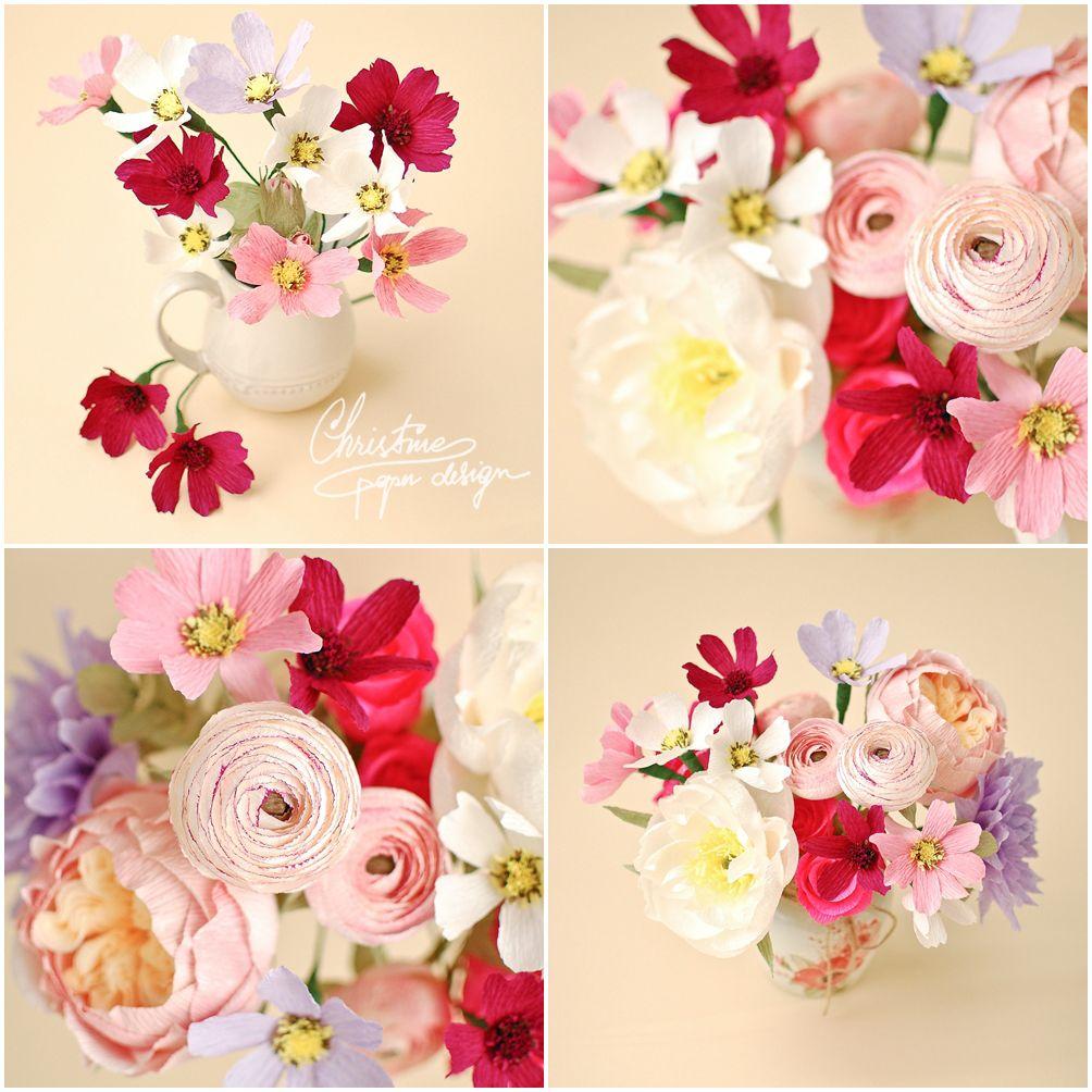 8christine Paper Design Paper Flowers Cosmos Diy Paper Flowers