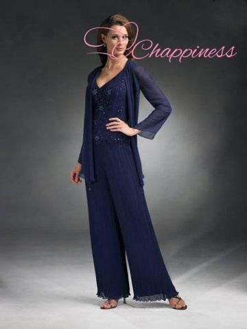 Blue Chiffon Three Piece Mother Of The Bride Dress Pants Sets Pant Suits