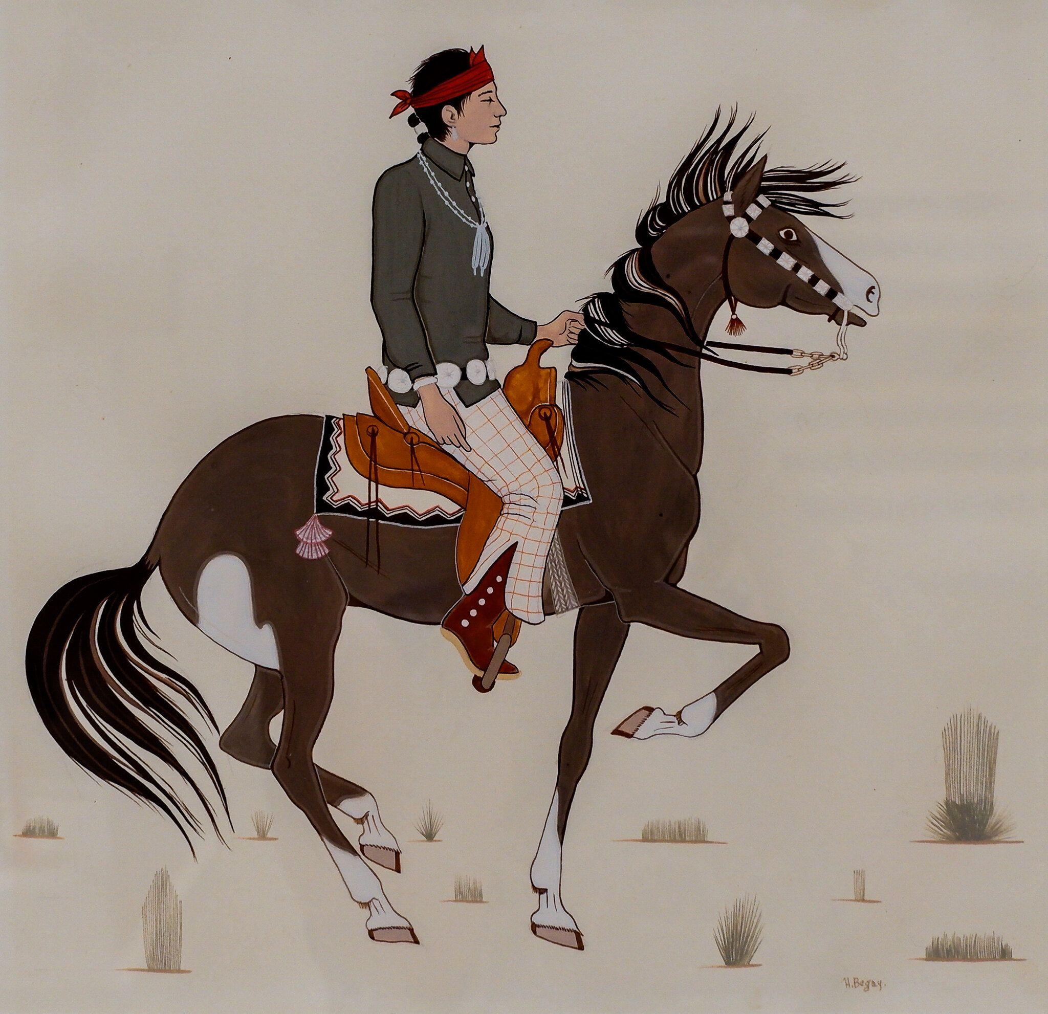 Harrison Benavajo Man On Horseback 8 7 19