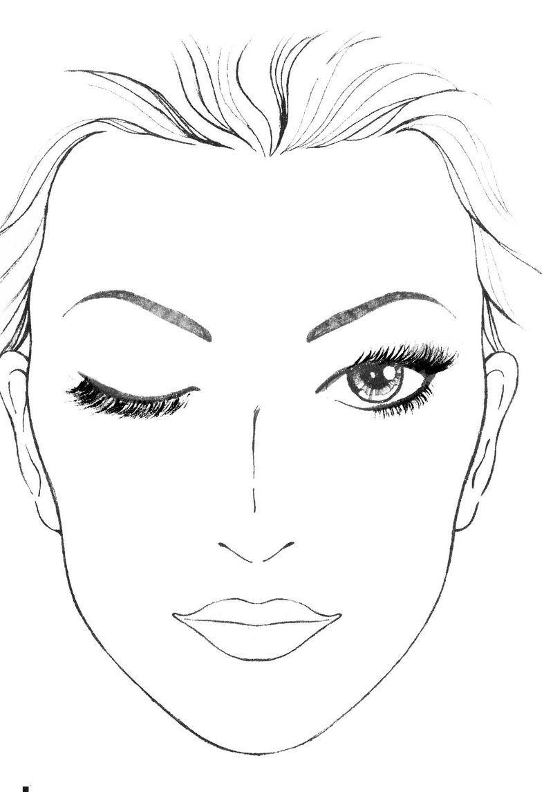 Makeup Coloring Pages Faces Makeup Face Charts Makeup Drawing Face Template Makeup