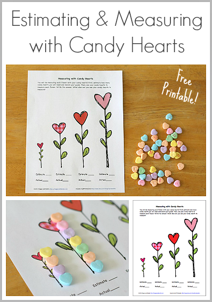 valentine party ideas measuring with candy hearts free printable