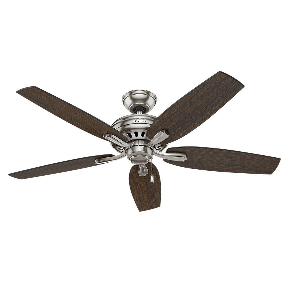 Hampton Bay Marucci 52 In Indoor Brushed Nickel Ceiling Fan With Light Kit And Remote Control Yg464c Bn The Home Depot Ceiling Fan With Light Ceiling Fan Brushed Nickel Ceiling Fan