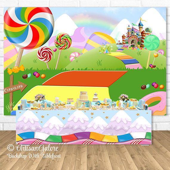 candyland backdrop  candyland party backdrop  candy and sweets party backdrop  candyland party